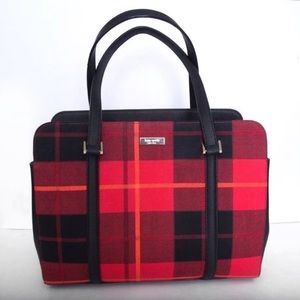 KATE SPADE Miles Newbury Lane Red Plaid Tote